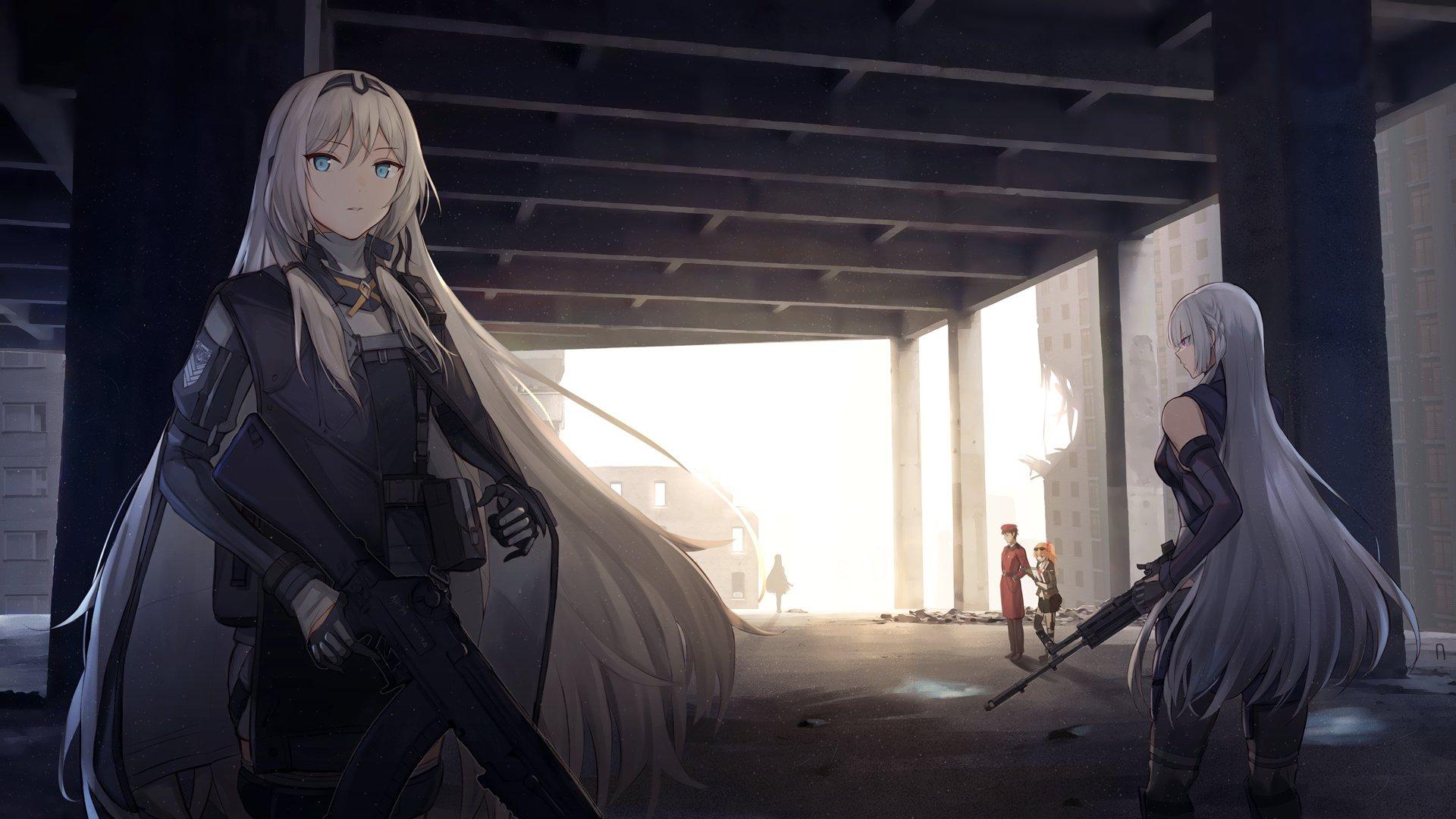 废墟 战场 拿枪的美少女 黑衣女孩 动漫壁纸,高清动漫电脑桌面壁纸插图
