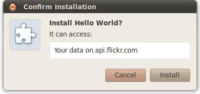权限提醒:'It can: Access your data on api.flickr.com'