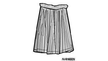 有定型褶的裙子.通常采用可塑性高的面料,加热压出褶形.