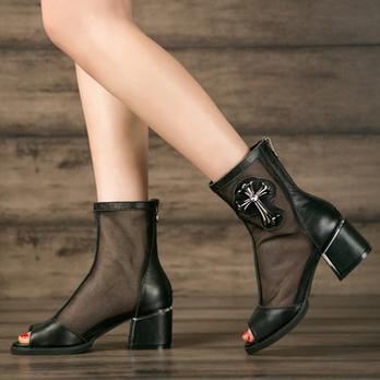 真皮黑色罗马鞋鱼嘴鞋坡跟套装女高跟鞋女鞋陶瓷凉鞋凉水图片
