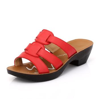 真皮小方跟女鞋 舒适休闲露趾拖鞋