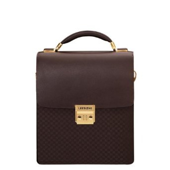 包单肩斜挎包真皮商务公文包密码锁手提包竖款(棕色)