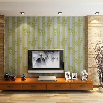 墙纸 电视背景墙效果 欧式田园液晶电视墙装修效果图 #采集