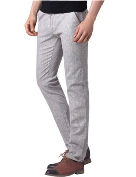 夏季新品男士休闲时尚宽松亚麻直筒长裤