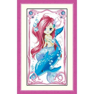 菲绣绣艺 十字绣套件 半成品 卡通画 美人鱼 海