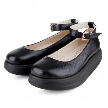 真皮圆头女鞋中跟单鞋松糕摇摇鞋坡跟女鞋