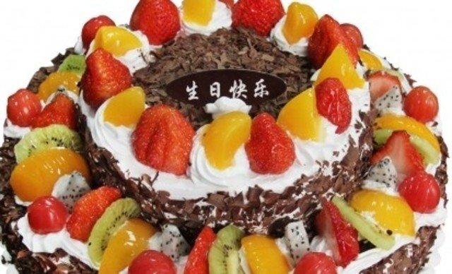 14寸欧式水果双层蛋糕1个