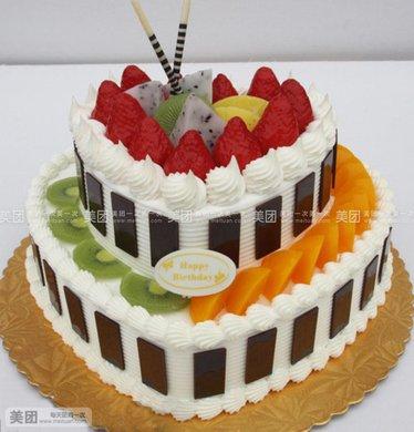 金麦双层欧式水果蛋糕1个