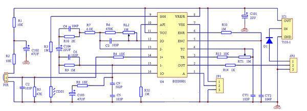 人体红外感应电路图.请问图中jp1和jp2是什么元件,有什么作用.