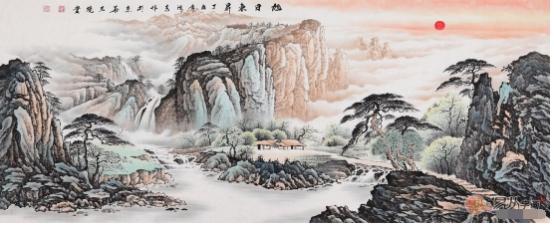 中式家居装饰画选什么?艺术山水国画美景秀丽财运旺!