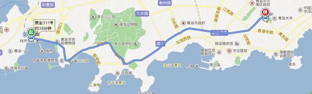 从青岛市火车站到青岛大学中心校区市南区的怎么去?