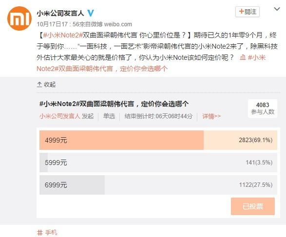 小米Note 2售价调查
