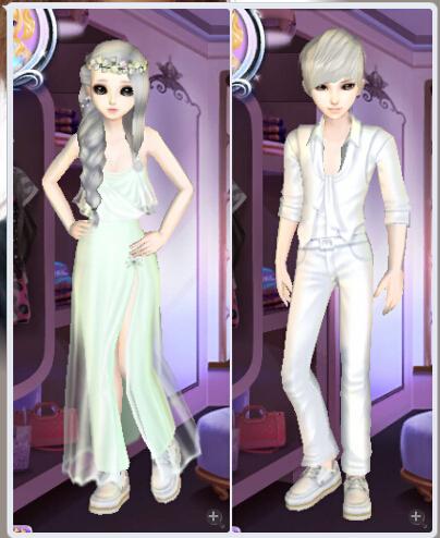 qq炫舞情侣装搭配带图,带名字,带价格白色系列,不要收