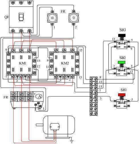 控制三相电机正反转电路实物图
