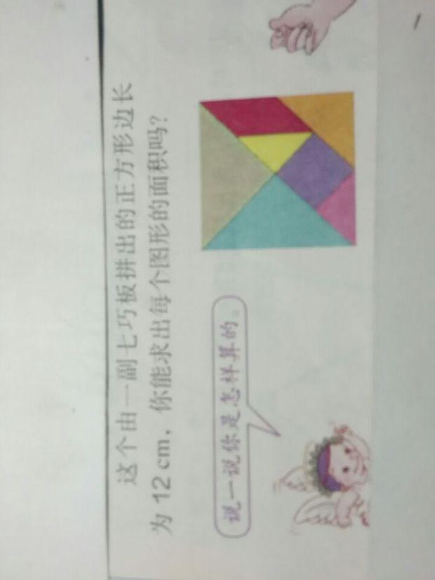 这有一个七巧板拼成的正方形边长为12cm,你能求出每个图形的面积吗