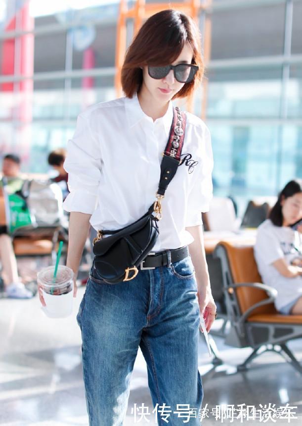 王丽坤真装!浴室衬衫搭配牛仔裤,33岁愣是六白色女生年级小说图片