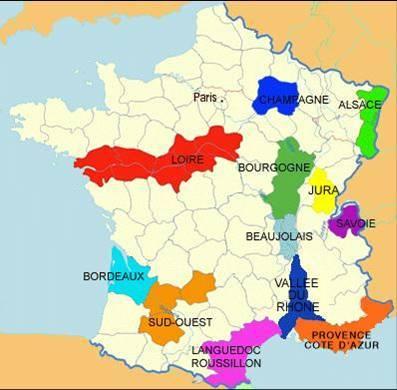 法国葡萄酒产区图