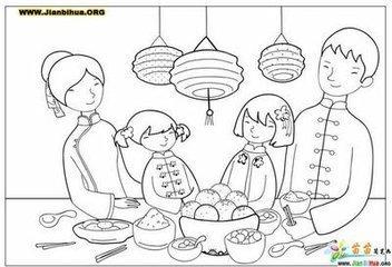 求图画:年夜饭,元宵,包饺子和放鞭炮.能简单画的.