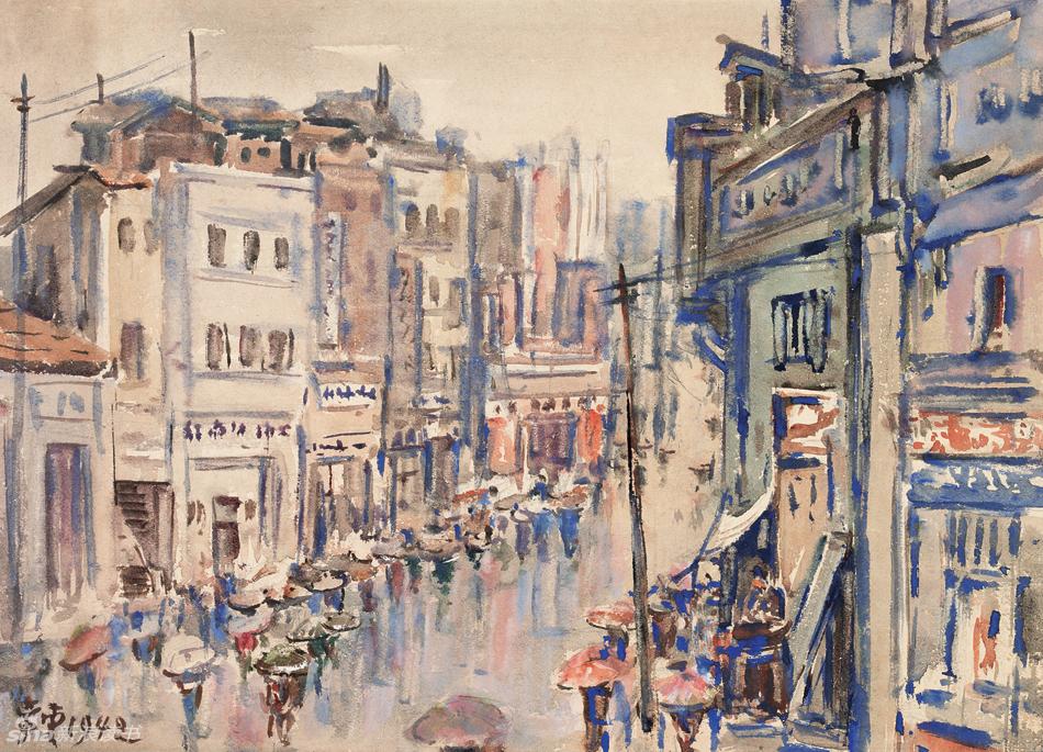 水彩画-重庆雨中都邮街(1942年)