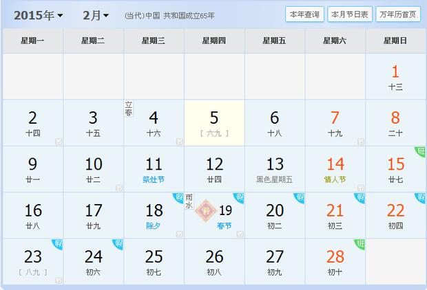 2015年2月5日是几九?