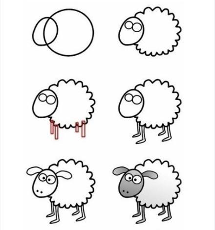 羊 简笔画 美观大方的