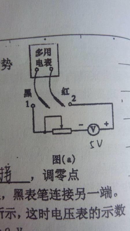 2.求这个电路图中的电流,为什么是电压表读数除以多用电表电阻数?
