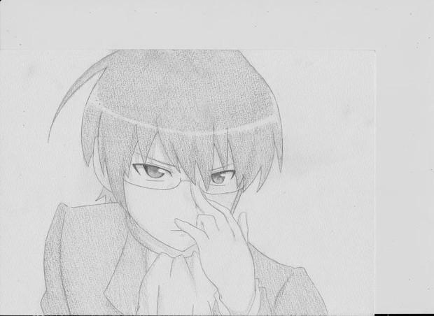 眼镜的黑白手绘图