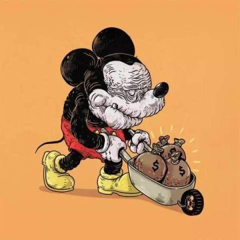 米老鼠,我怎么忍心看你这个年纪还推着小推车挖金.图片