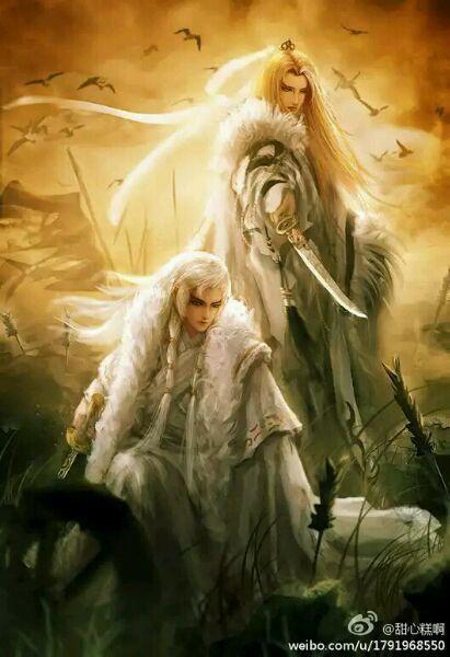 哪位大神有白头发,古风男子小说封面素材,图片要有枪或矛的,谢谢