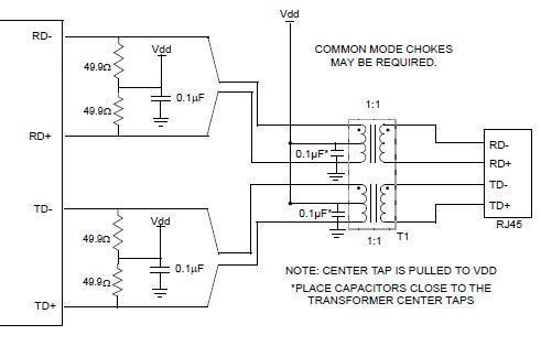 请高手解答电路连接问题?以太网网络变压器和rj45的连接