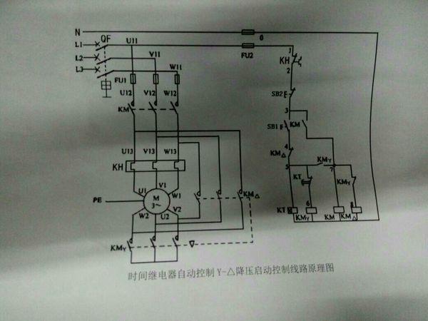 时间继电器自动控制星形三角形降压启动控制线路的接线图? 求接线图?