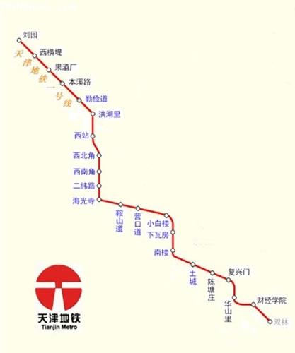 天津地铁一号线路图谁有图片