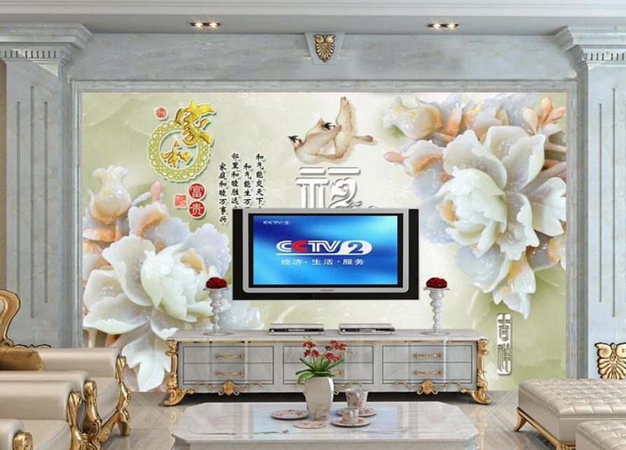 3d玉雕白玉兰电视墙