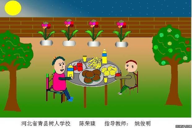 小学生中秋节绘画作品(要有一个大月亮,一家人坐在树下吃月饼的情