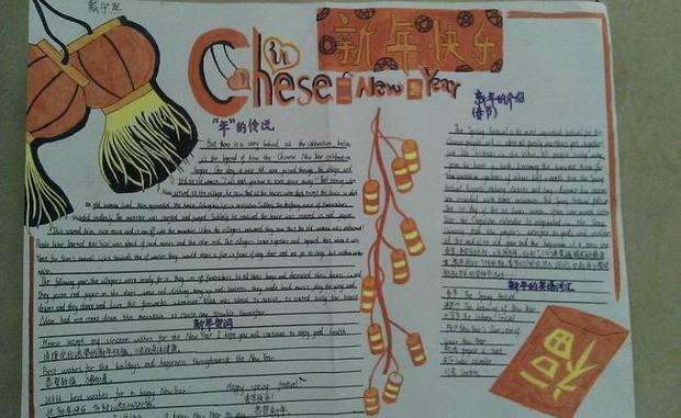 关于春节的英语手抄报设计图 简单图片
