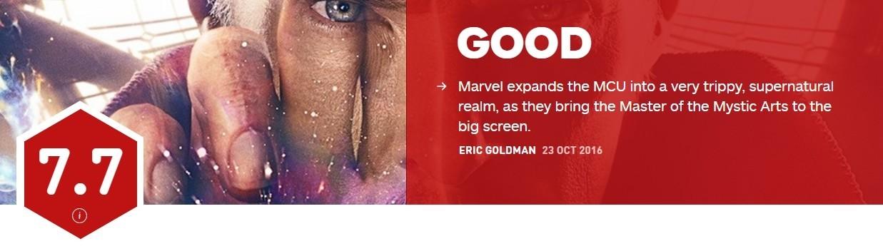 《奇异博士》IGN评分7.7分