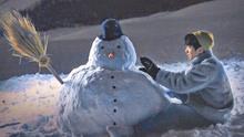 王俊凯堆雪人照