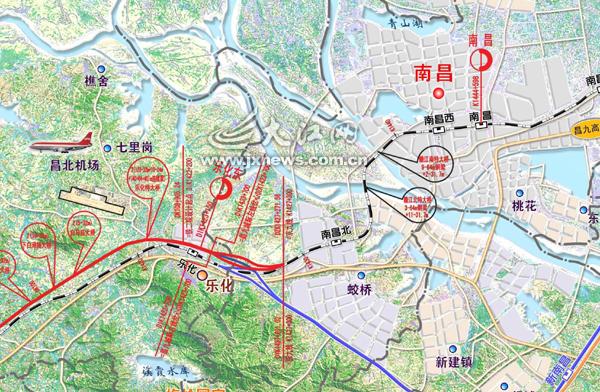 昌九城际铁路南昌段轨道交通线路平面示意图