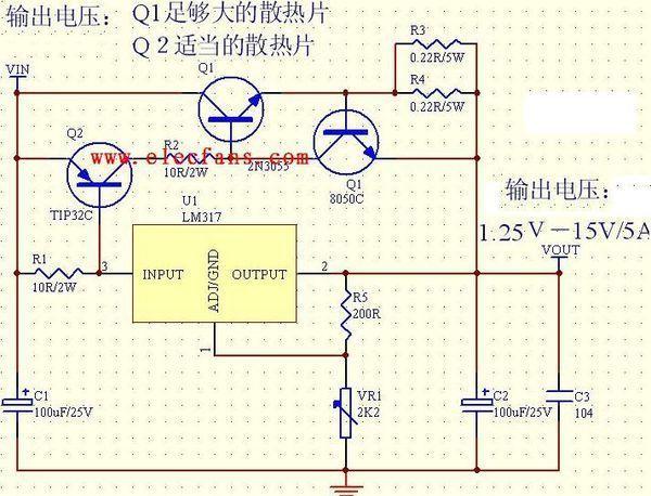 整个电路在一定范围内有恒压功能却没有衡量功能;1)三端稳压器lm317