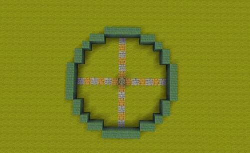 迷你世界喷泉怎么建造 第一步,首先在地面上建一个如下图所示的圆形