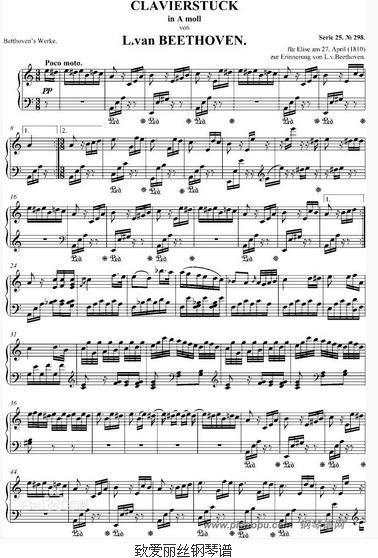 贝多芬为什么谱写献给爱丽丝钢琴曲