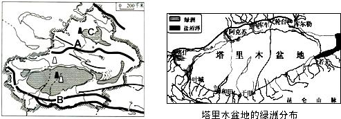 (3)塔里木盆地的城市和人口主要分布在盆地的