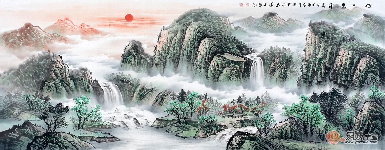 李林宏青绿山水画作品《旭日东升》