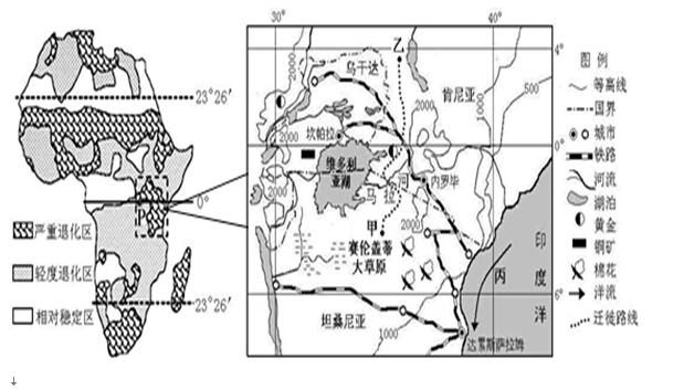 (1)央视直学科王播期间,内罗毕的昼夜长短状况是 ,正午太阳高度变化情况是 。 (2)图中马拉河水源补给类型主要是 ;丙洋流对沿岸气候影响是 ;形成P区域水平自然带的主要因素是 ,其分布体现了 地域分异规律。 (3)说出图中角马大迁徙路线的大致方向,并简述理由。 (4)试从人类活动的角度,分学科王析P区域生态严重退化的主要原因。