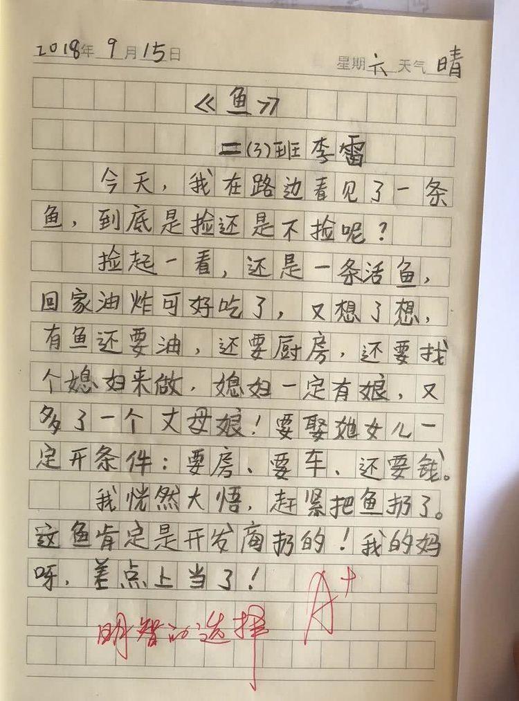 小学生老师太有,日记评语:来自外太空的你,让新塘小学天恩图片