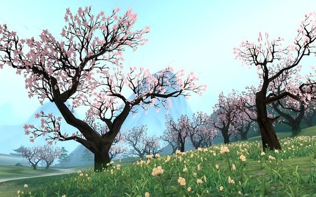 求张古代院子里的桃花树的图片