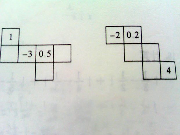 纸盒的两个侧面展开图,请在其余三个正方形内分别填入适当的数,