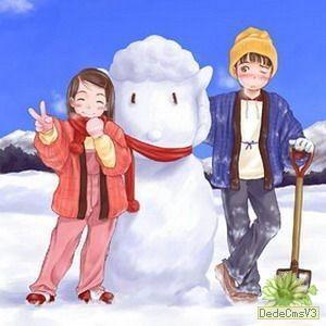 卡通-堆雪人 步骤 1