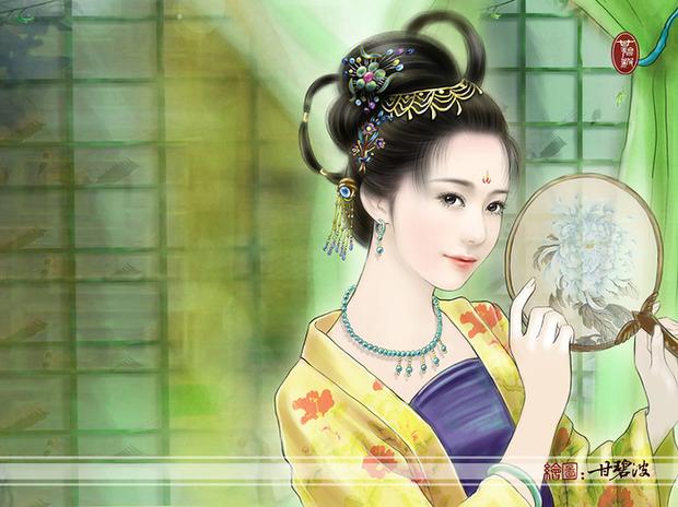 求古代美女丹青图图片