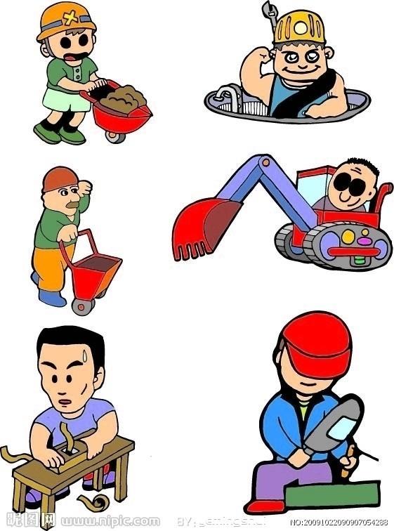 建筑工人劳动图片 中国劳动工人简笔画